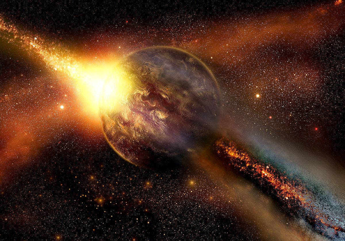 Ein klassisches Szenario - ein Asteroid durchschlägt die Erde